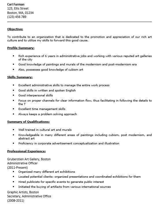 Arts administration sample resume 2 uxhandycom