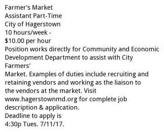Farmer's Market Assistant Part-Time, City Of Hagerstown ...