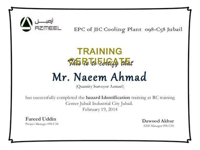 training certificates format