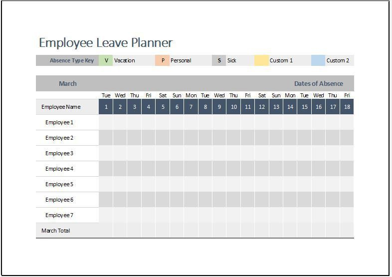 Employee Leave Planner Template for MS Excel | Word & Excel Templates
