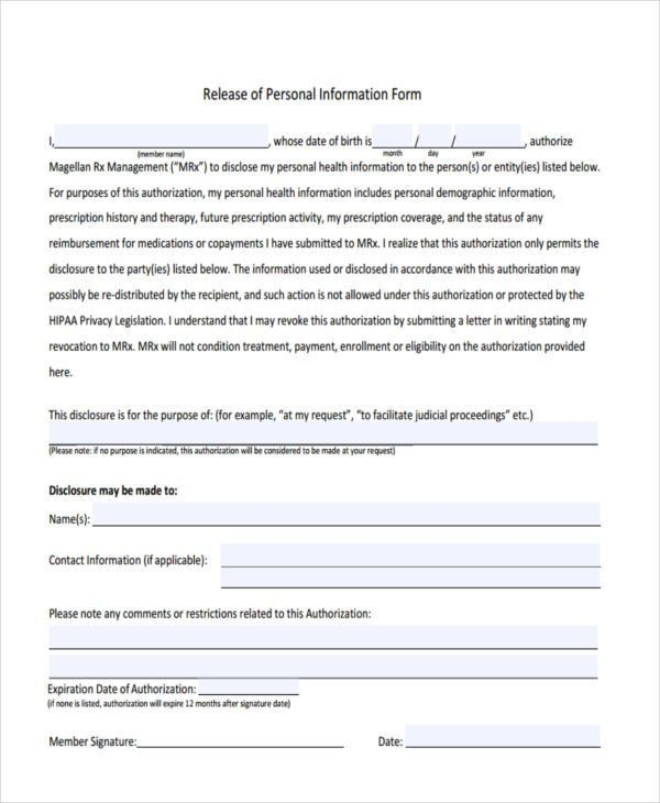 18+ Sample General Release of Information Forms