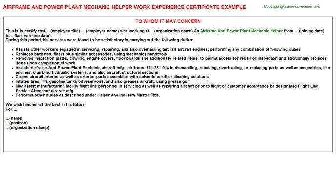 Airframe And Power Plant Mechanic Helper Work Experience Certificate