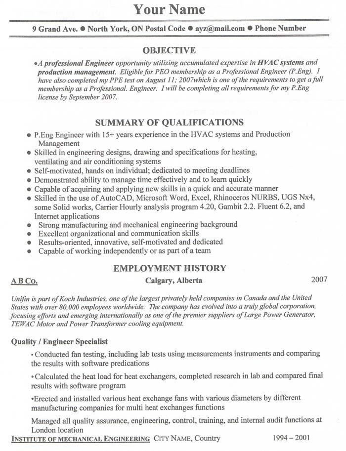 Sample Resume Format In Canada - Gallery Creawizard.com