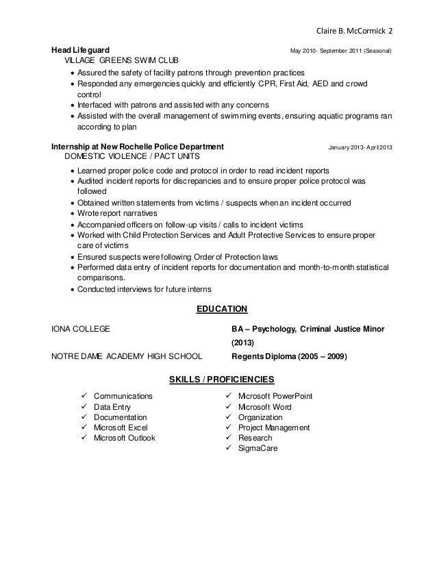 Lifeguard Resume Description - Contegri.com
