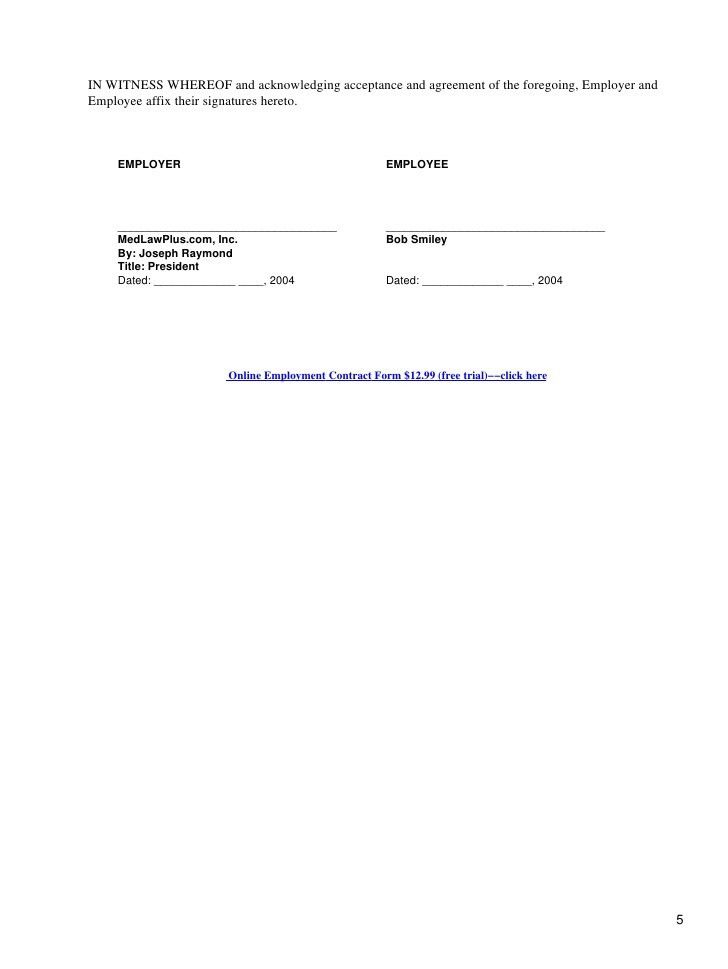 Employment Contract Form. Printable Sample Employment Contract ...