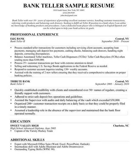 bank teller resume skills httpgetresumetemplateinfo3503