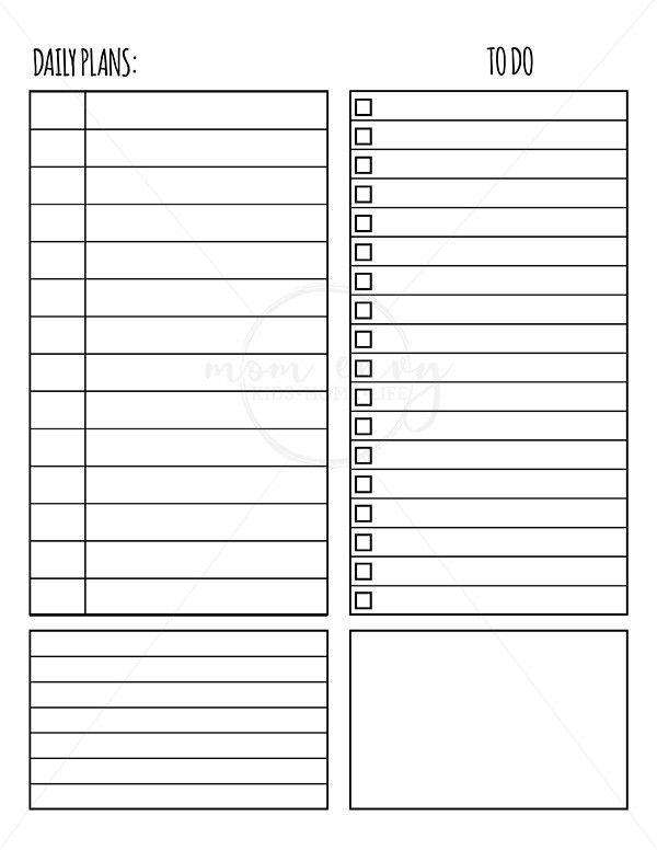 Free Weekly and Daily Planner Inserts | Mom Envy