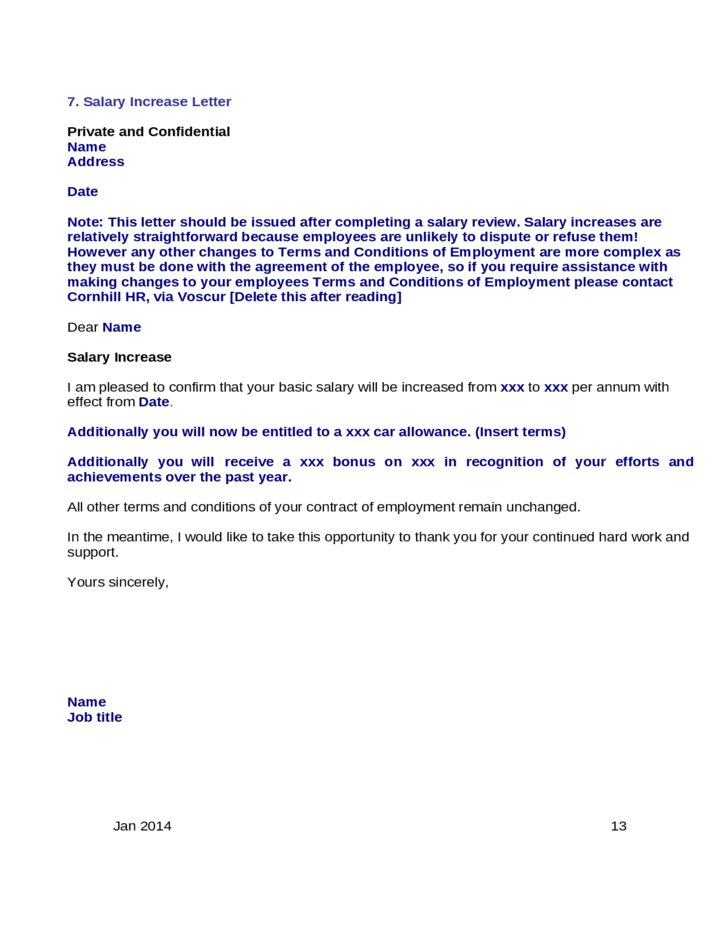 Basic Sample Salary Increase Letter Free Download