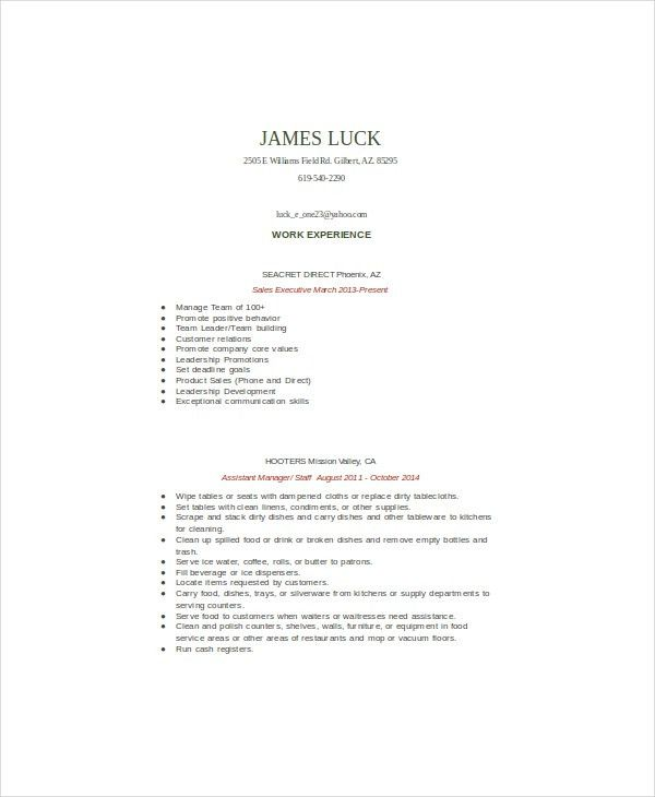 Food Service Resume Template - 6+ Free Word, PDF Documents ...