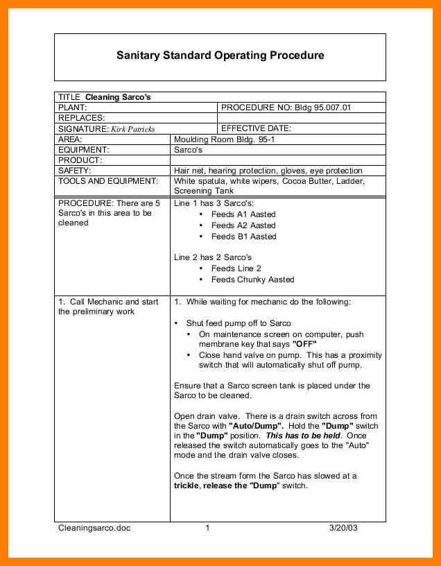 10+ standard operating procedure template word | joblettered