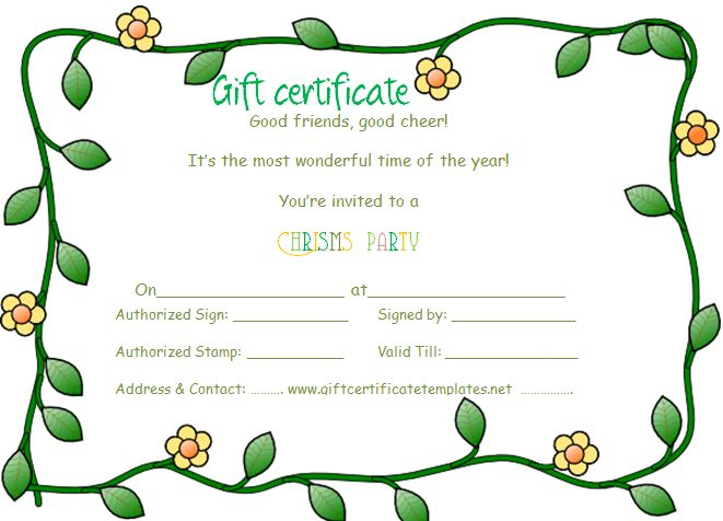 Green flowers border gift certificate template | Beautiful ...