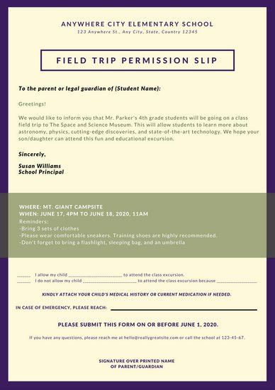 Cream and Violet Simple Field Trip Permission Slip Letters ...