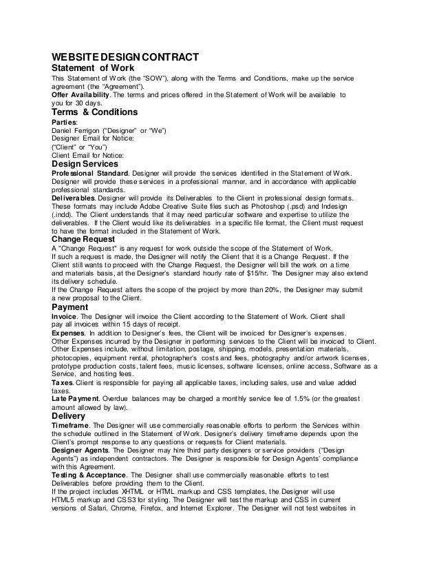 Sample Web design contract - Ferrigon Media