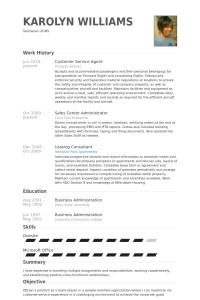 Service Agent Resume samples - VisualCV resume samples database
