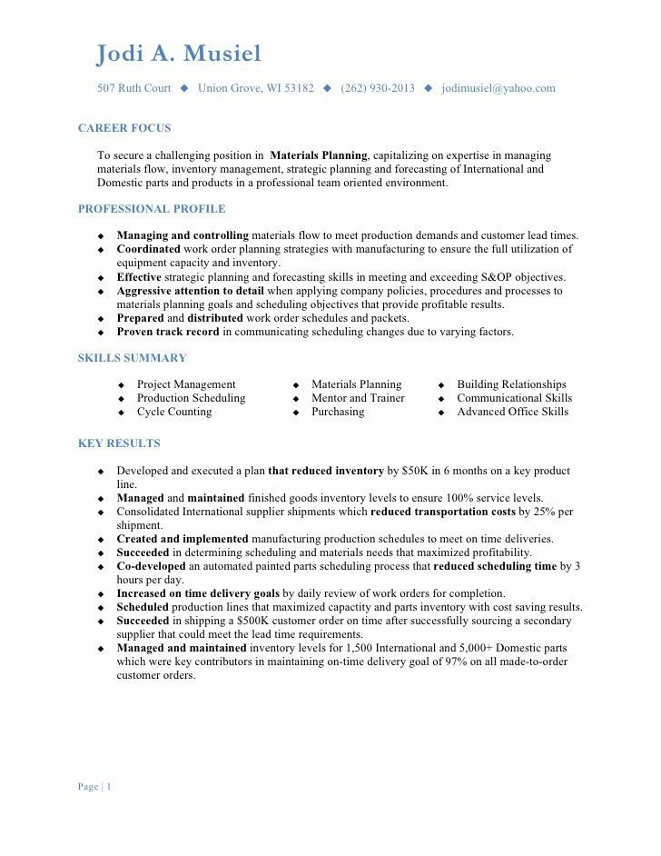 Breathtaking Production Planning And Control Resume 85 For Your ...