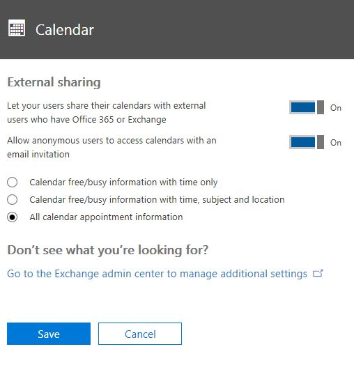 Share calendars with external users - Office 365