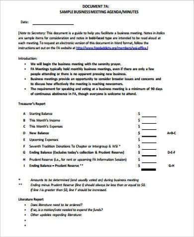 Sample Business Meeting. Church Business Meeting Minutes Template ...