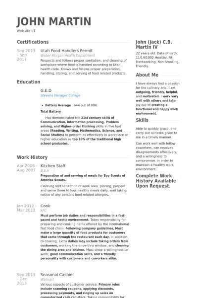 Kitchen Staff Resume samples - VisualCV resume samples database