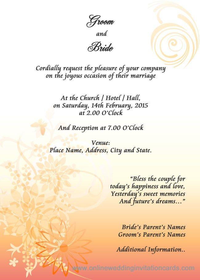 Wedding Invitation Card Format Onli ~ Matik