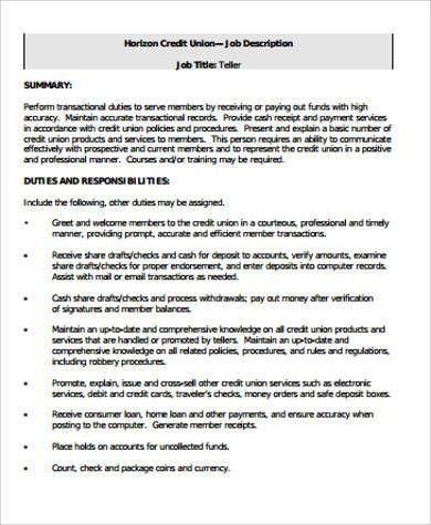 Sample Bank Teller Resume - 7+ Examples in Word, PDF