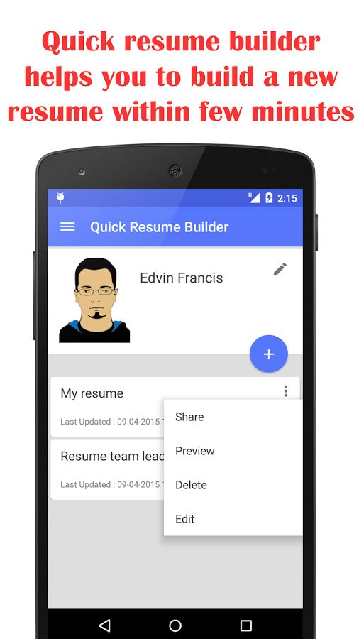 Quick Resume Builder - Android Apps on Google Play
