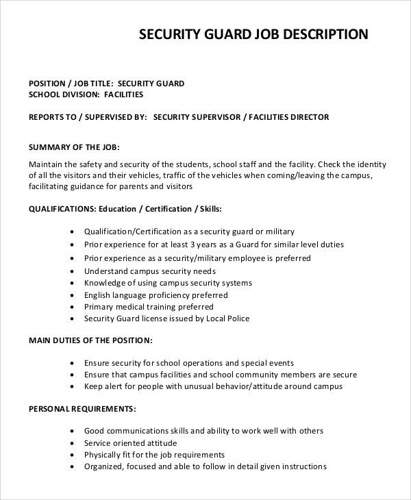 sample security guard job description 8 examples in pdf word - Sample Security Manager Resume