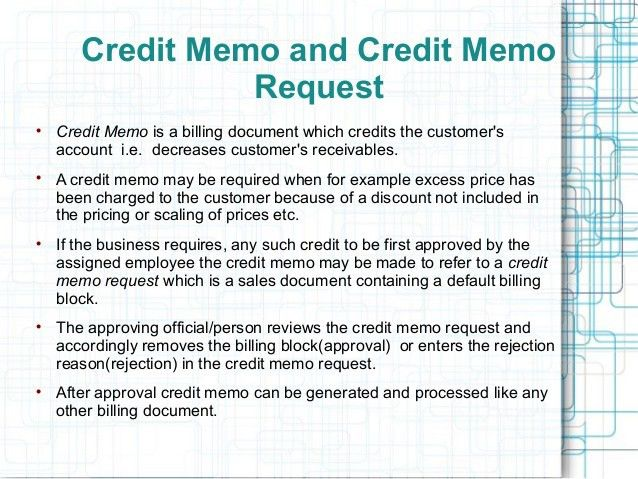 Sample Credit Memo. Sap Sd - Credit Memo Requestauthorization; 2 ...