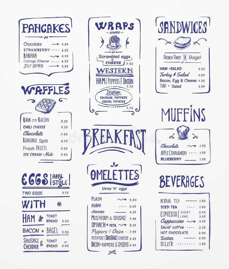 Breakfast Menu Template. Stock Vector - Image: 39016197