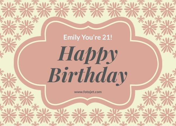 Happy 21St Birthday Greeting Card Template Template | FotoJet