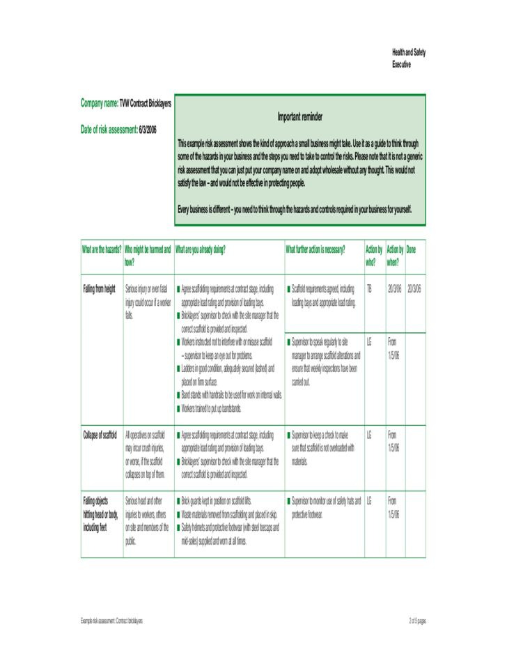 Example Risk Assessment for Contract Bricklayers - HSE for ...