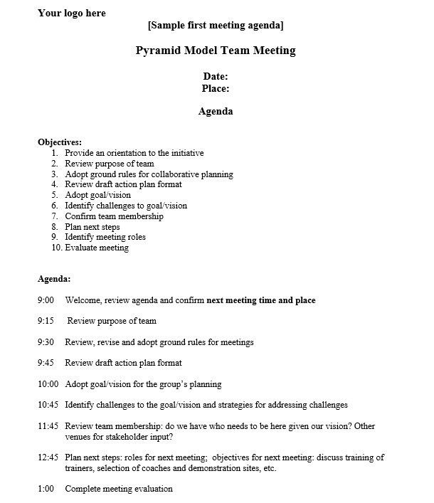 8 Free Sample Strategic Meeting Agenda Templates – Printable Samples