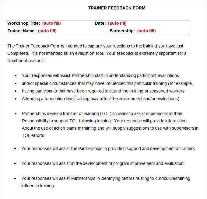 Workshop Evaluation Forms Sample. Web Form Templates | Customize ...
