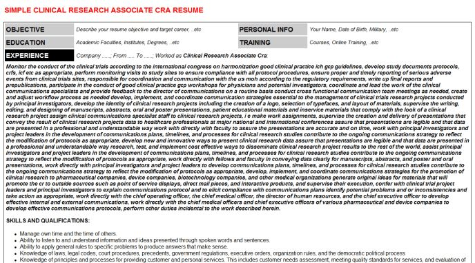 Clinical Research Associate Cra Cover Letter & Resume