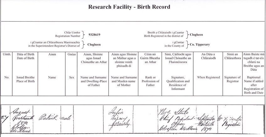 Ireland: birth records - how to find them and obtain copy ...