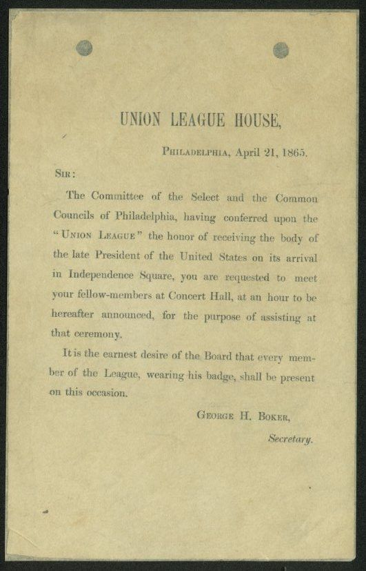 Union League of Philadelphia Funeral Invitation Letter ...