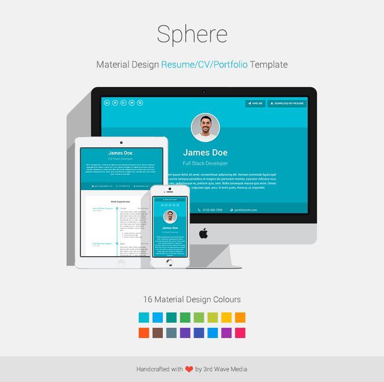 Material Design Resume/CV/Portfolio Template - Sphere