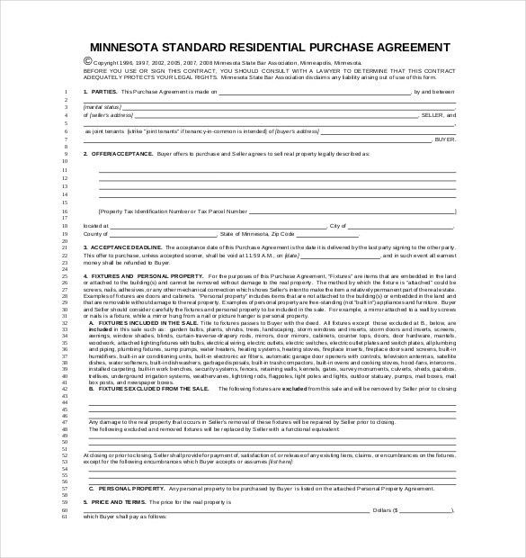 Sample Property Purchase Agreement. Mnbar Org | In Order To ...