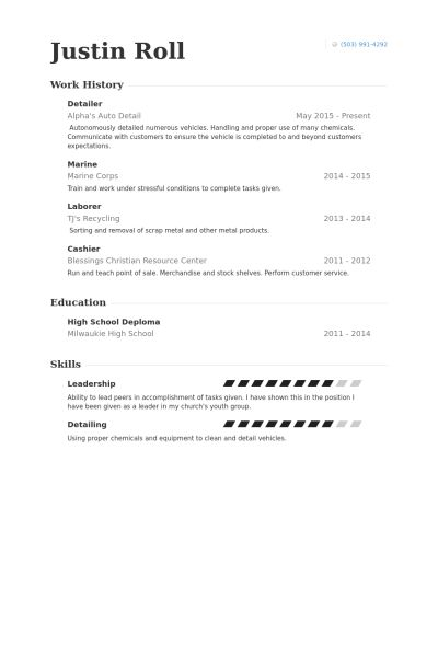 Detailer Resume samples - VisualCV resume samples database
