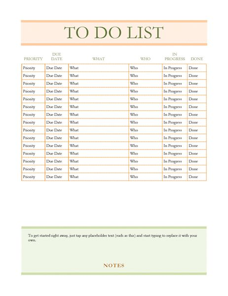 To do list - Office Templates