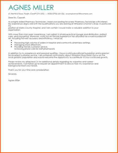 6 pharmacy technician cover letter - Budget Template Letter