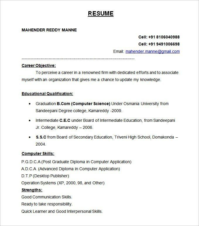 Winsome Ideas Resume Format 12 Resume Templates - Resume Example