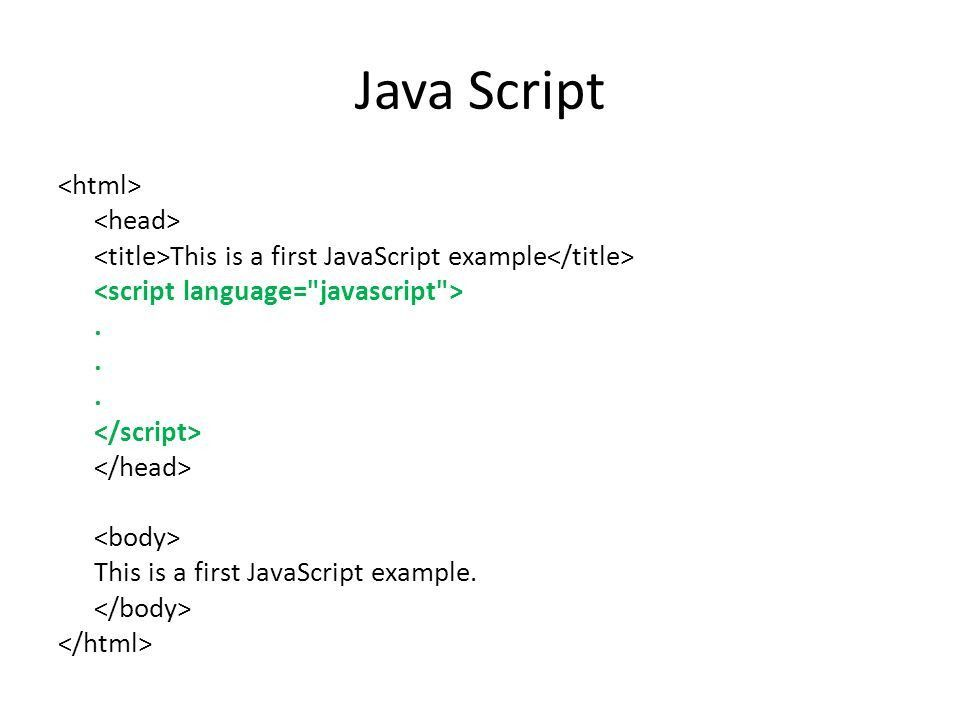 Java Script This is a first JavaScript example. This is a first ...