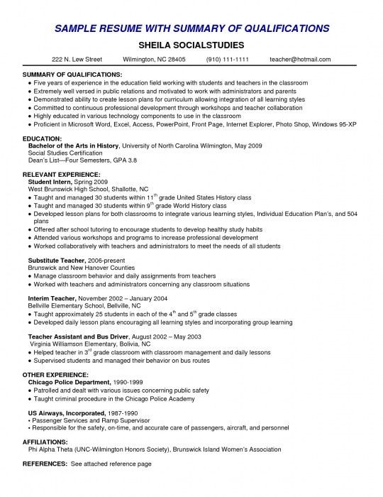 The Awesome Qualifications Summary Resume Example | Resume Format Web