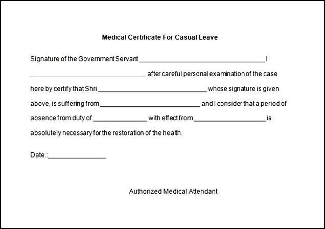 Download Word Medical Certificate For Casual Leave | Certificate234