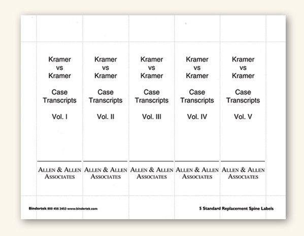 "Insertable Spine Labels for Standard 3"" Binders"