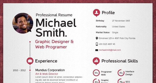 Simple Resume Template vol2 | Resumes Templates | Pixeden