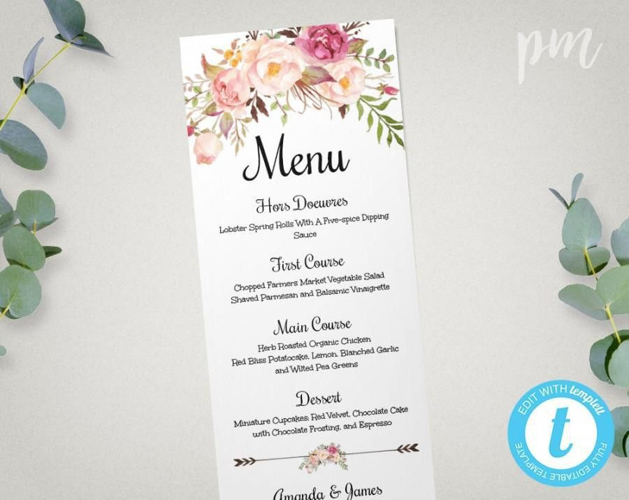 Wedding Menu Template, Printable Menu, Floral Wedding Menu ...