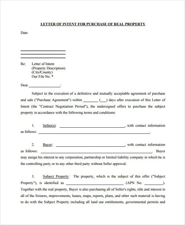 Sample Letter of Intent to Purchase Property - 8+ Free Documents ...
