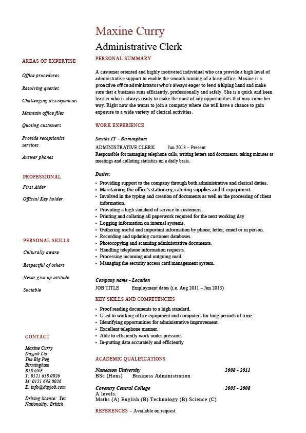 Administrative clerk resume, clerical, sample, template, job ...