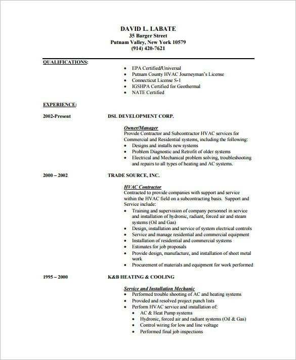 Download Hvac Resume Template | haadyaooverbayresort.com